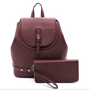NWT 💥 2 in 1 - Burgundy Backpack & Wallet